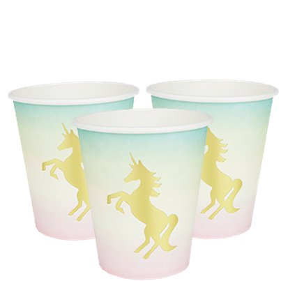 We Heart Unicorn Foil Paper Cups - 250ml