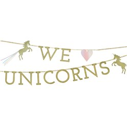 We Heart Unicorn Glitter Letter Banner - 3m