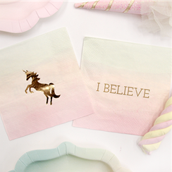 We Heart Unicorn Paper Beverage Napkins - 25cm