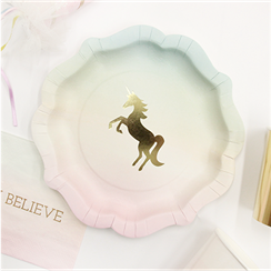 We Heart Unicorn Paper Plates - 18cm