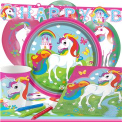 Rainbow Unicorn Party Pack - Deluxe Pack for 8