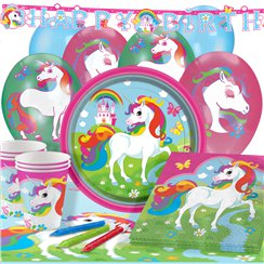 Rainbow Unicorn Party Pack - Deluxe Pack for 16