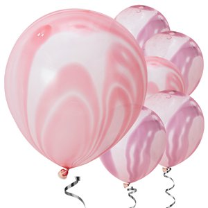 Unicorn Wishes Pink & Purple Marble Balloons - 12