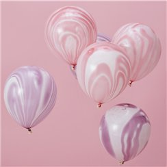 "Unicorn Wishes Pink & Purple Marble Balloons - 12"" Latex"