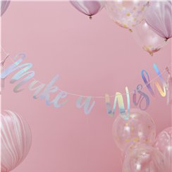 Unicorn Wishes 'Make A Wish' Iridescent Letter Banner - 1.5m