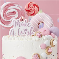 Unicorn Wishes 'Make A Wish' Pink Glitter Candle - 11.5cm