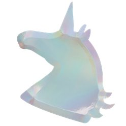 Unicorn Wishes Iridescent Unicorn Shaped Paper Plates - 30cm