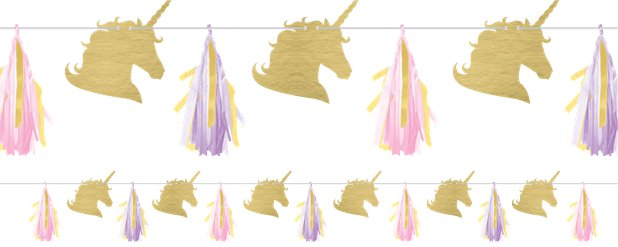 Unicorn Sparkle Tissue Tassel Garland - 2.4m