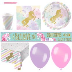 Unicorn Sparkle Deluxe Party Kit - For 16
