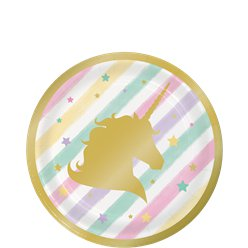 Unicorn Sparkle Plates - 18cm Paper Party Plates