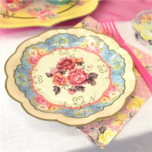Vintage Tea Party Paper Plates - 17cm   Party Delights