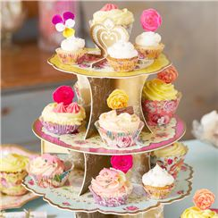 Truly Scrumptious Vintage Cup Cake Stand - 3 Tier