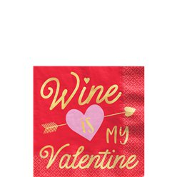 Wine Is My Valentine Beverage Napkin - 25cm