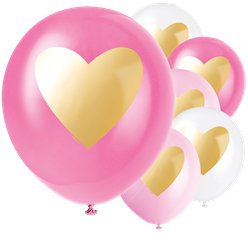 Gold Heart Latex Balloons - 12""