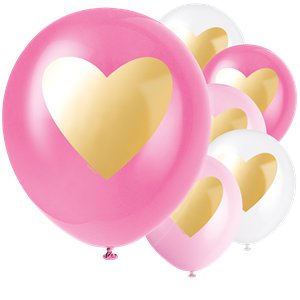 Gold Heart Latex Balloons - 12