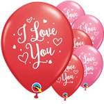 Valentines I Love You Hearts Script Latex Balloons - 11""