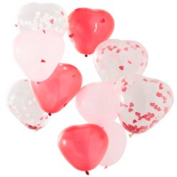 Heart Shaped Pink, Red & Confetti Balloons