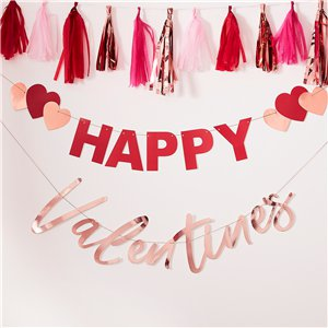 Rose Gold and Red 'Happy Valentine's' Bunting 2m