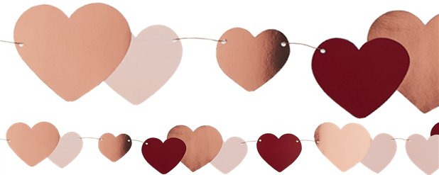 Rose Gold Heart Bunting - 2m