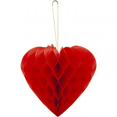 Heart Honeycomb Hanging Decorations - 9""