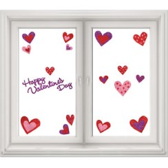 Valentines Glitter Heart Window Stickers