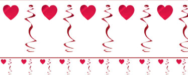 Valentines Heart Swirl Garland Decoration - 2.74m