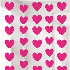 Valentines Pink Heart String Decoration - 2.1m