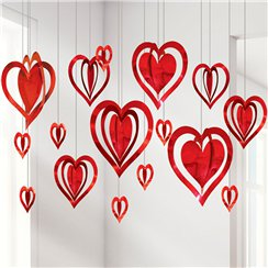 Valentines 3D Heart Hanging Decorations