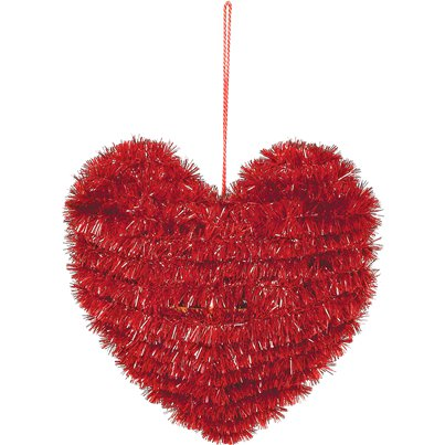 Valentines Small Tinsel Heart - 13cm