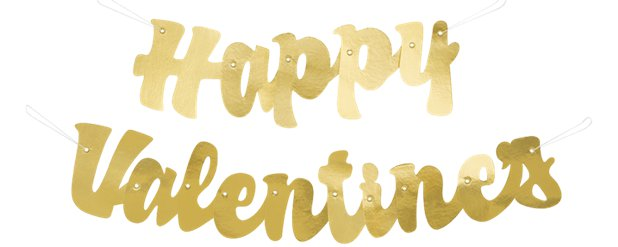 "Gold ""Happy Valentines"" Letter Banner - 1.2m"