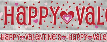 Happy Valentine's Day Hearts Foil Banner - 2.7m