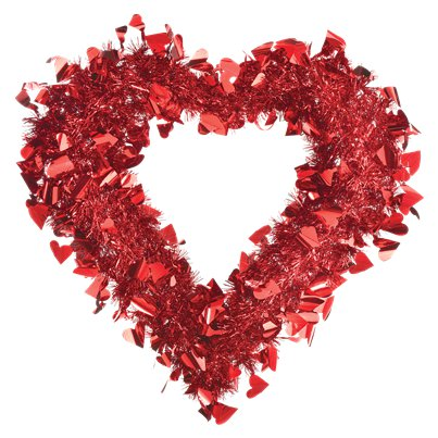 Red Heart Tinsel Wreath