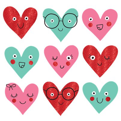 Heart Face Mini Glitter Cutouts