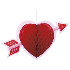 Valentines Heart Honeycomb Hanging Decoration