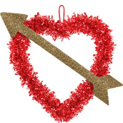 Heart with Gold Arrow Tinsel Decoration