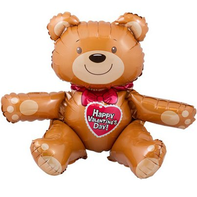 "Valentines Sitting Bear Balloon - 19"" Foil"