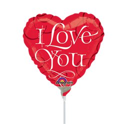 "Valentines 'I Love You' Balloon on a Stick - 9"" Foil"