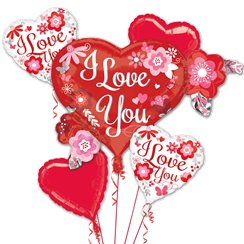 I Love You Flowers Balloon Bouquet - Assorted Foil