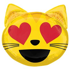 "Cat Love Emoticon SuperShape - 22"" Foil"