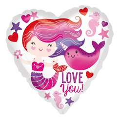 Valentines Mermaid and Narwhal Love Standard Foil
