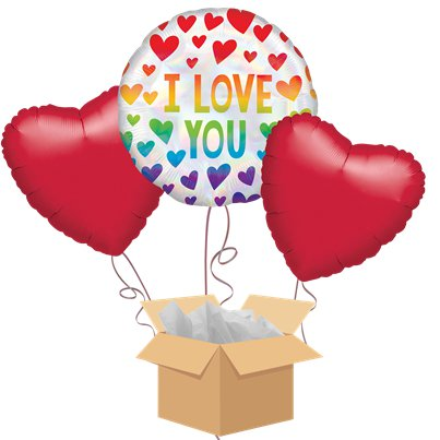 Love You Rainbow Hearts Balloon Bouquet - Delivered Inflated