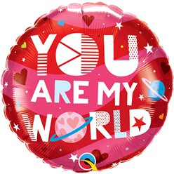 "You Are My World Valentines Balloon - 18"" Foil"