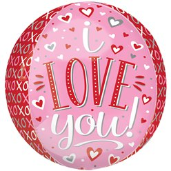 "I Love You XOXO Orbz Balloon - 16"" Foil"