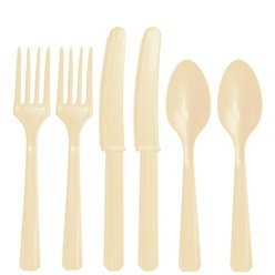 Ivory Reuseable Plastic Cutlery - Assorted Party Pack