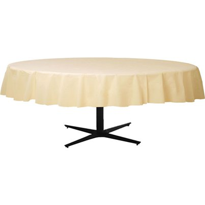Ivory Round Tablecover - Plastic - 2.1m