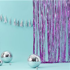 Good Vibes Pink Fringe Foil Door Curtain - 2.5m