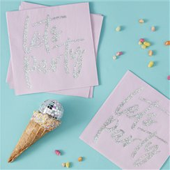 Good Vibes Iridescent 'Let's Party' Napkins - 33cm