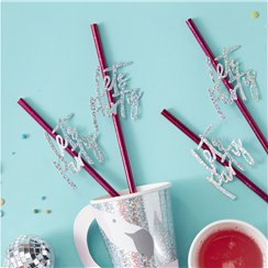 Good Vibes Hot Pink 'Let's Party' Straws