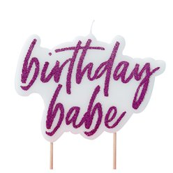 Good Vibes Glitter 'Birthday Babe' Candle - 11cm