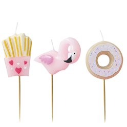 Good Vibes Flamingo, Fries and Donut Candles Kit - 8cm